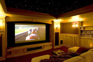 home-theater-room-wood-stars projector screen