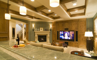 wood panel fire place surround sound sound speakers