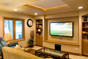 media room with flat screen and sound system