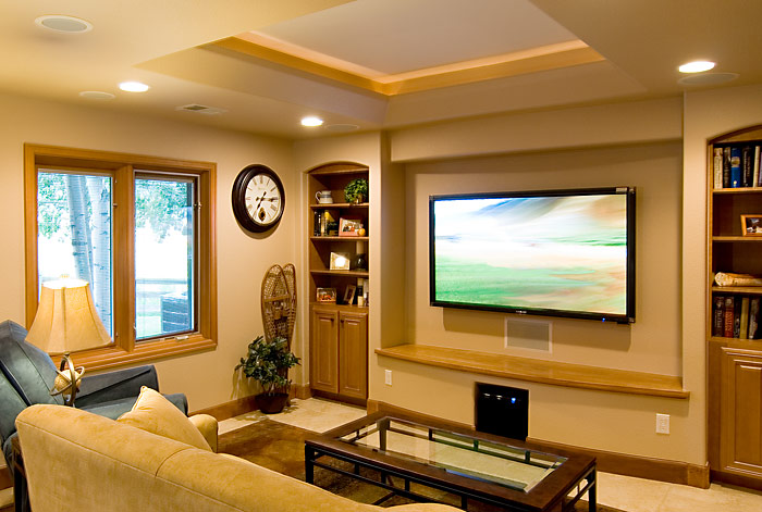 Subwoofer Placement Media Room With Flat Screen And Sound System