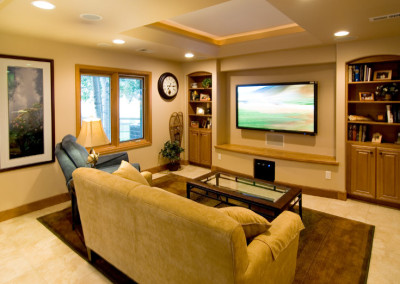 living room media area with HGTV flatscreen