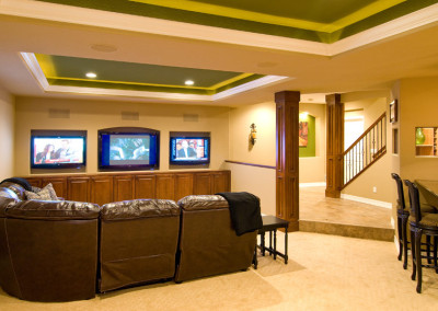 three hgtv mounted in luxury basement living space